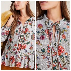 NWT Anthropologie Floral Flounced Peasant Top